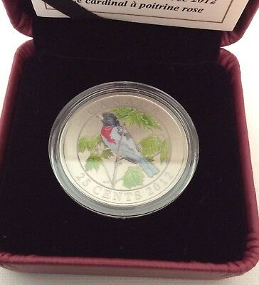 Canada 2012 ROSE BREASTED GROSBEAK 25 CENT COLORED COIN