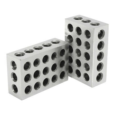 "Pair 0.0002"" Precision 1-2-3 Blocks 23 Holes, Carbon Steel, Rust-Resistant"