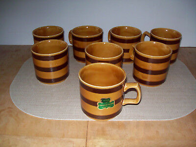EIGHT Vintage Carrigaline Pottery of Cty. Cork Ireland Ceramic Coffee Cups VGC!