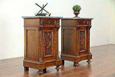 Pair of Antique Italian Renaissance Carved Walnut Nightstands Marble Tops #30000