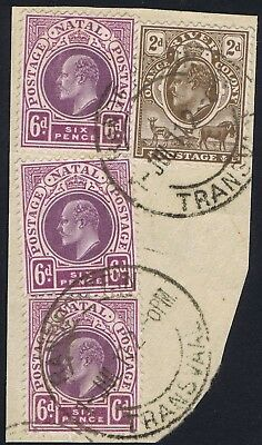 1910-13 Combinations used in Transvaal -  2d Orange River with Natal 6d x 3