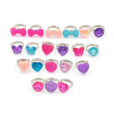 5Pcs Lovely Hearts Butterfly Rings Adjustable Jwewlry Kids Fashions Accessories