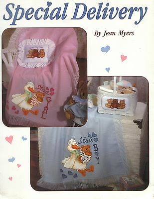 Special Delivery Baby Cross Stitch Pattern Leaflet Stork, Bears, Boy, Girl, Cute