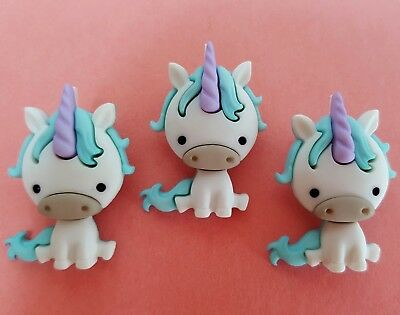 3 x BABY UNICORN - Fairies Welcome Horse Pony Fantasy Dress It Up Craft Buttons