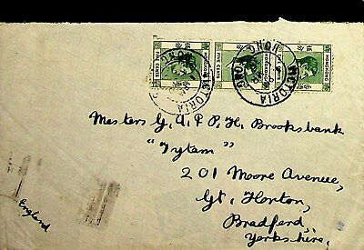 HONG KONG 1939 5c KG VI 3v ON COVERS TO ENGLAND W / RARE CACHET AT BACK