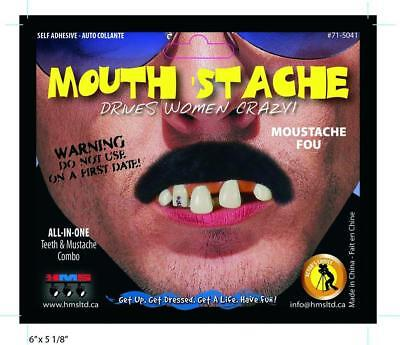 Mouth Stache Moustache With Teeth Costume Accessory One Size
