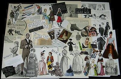 112pc Vtg Collage Art FASHION SAMPLER People Clothing Paper Cut Out Ephemera Lot