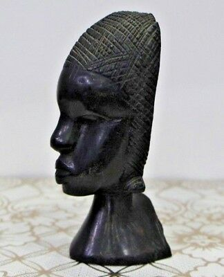 Carved Wood African Hand Head Tribal Statue Figure Art Vintage Bust Dark Brown
