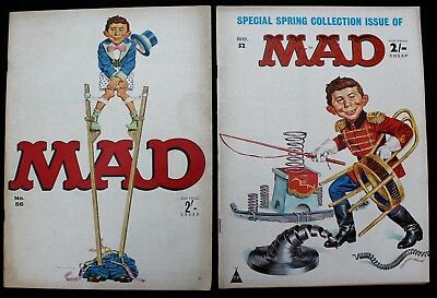 UK MAD Mags # 52 & 56  Classic BUY ME Cover Advert in Lot of 2 fn+/vfn 1964/66
