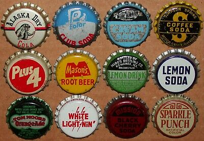 Vintage soda pop bottle caps Lot of 12 ALL DIFFERENT Mix #80 cork lined unused