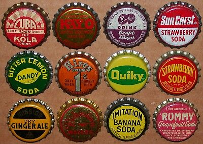 Vintage soda pop bottle caps Lot of 12 ALL DIFFERENT Mix #74 cork lined unused