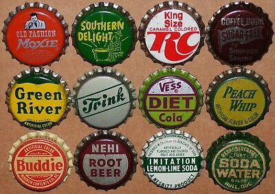 Vintage soda pop bottle caps Lot of 12 ALL DIFFERENT Mix #43 cork lined unused