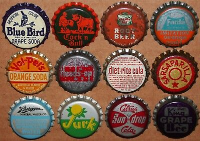 Vintage soda pop bottle caps Lot of 12 ALL DIFFERENT Mix #56 cork lined unused