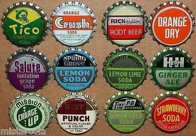 Vintage soda pop bottle caps 12 ALL DIFFERENT cork lined mix #7 new old stock