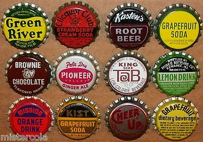 Vintage soda pop bottle caps 12 ALL DIFFERENT cork lined mix #18 new old stock