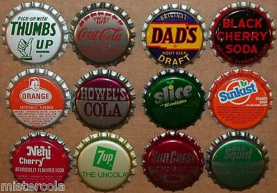 Vintage soda pop bottle caps 12 ALL DIFFERENT plastic lined mix #8 new old stock