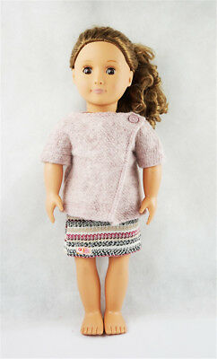 Fit For 18'' American Girl Striped Mini Skirt T-shirt Knit Sweater Doll Clothes