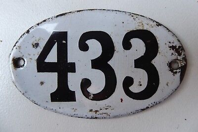 """Antique French Enamel House Number """" 433 """""""