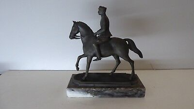 Antique Bronze Johan Galster 41 Cast Statue Horse Rider Danish King Christian