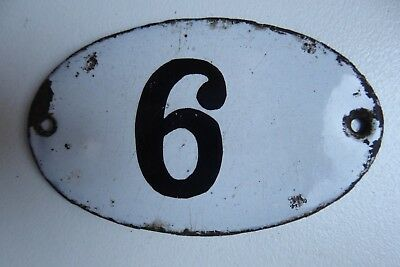 """Antique French Enamel House Number """" 6 """""""