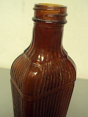 Brown Empty Amber Glass Barber Bottle Antique Vintage Screw Top Embossed Ribbed