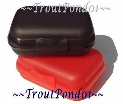 Tupperware Packables Hinged Container Trinket Box Oyster Black and Red Set 2