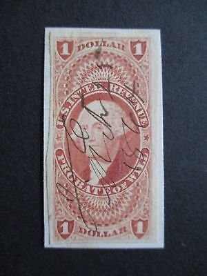 Vintage Used Red $1 Probate Of Will Imperf U.s. Revenue Stamp