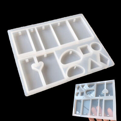Multi Silicone Mould Mold For DIY Resin Necklace Jewelry Pendant Making Tool New