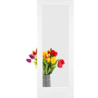 "Frameport FA_3243982W Primed Clear Glass 28"" by 80"" 1 Lite Passage Door"
