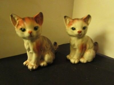 "2 Vintage NAPCO Japan Calico Kitten Figurines #1274 Porcelain 4""Tall,3.2"" Long"