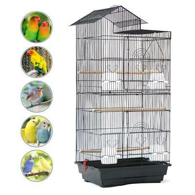 """39"""" Steel Wire Bird Parrot Cage +4 Plastic Feeders+ 3 Wooden Perches+ Swing"""