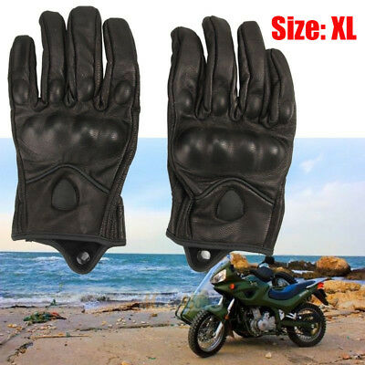 A Pair Men Winter Leather Motorcycle Full Finger Warm Driving Gloves L Size USA