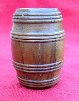 Fine Antique Unusual 18Th Century Miniature Figural Novelty Walnut Barrel Box