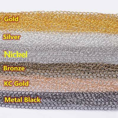 1.8/3.2mm Wide 5m/100m Long Iron Metal Jewelry Making Extension Open Link Chains