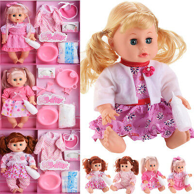 UK New Born Soft Body Baby Doll Toy with Dummy Baby Sounds Crying Talking Gift