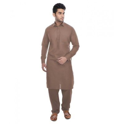 Men's Pathani Kurta Pajama Ethnic Suit Cotton Fabric Solid Brown