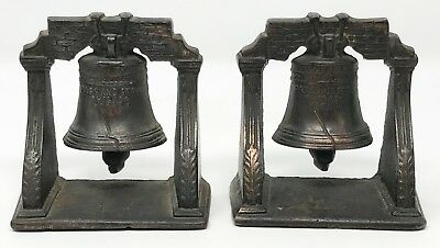 Pair Vintage Antique Cast Iron Liberty Bell Bookends SCP