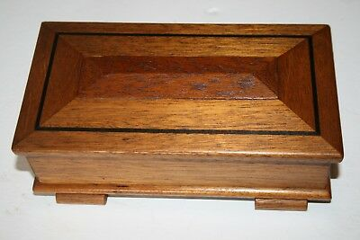 Vintage Antique Wood Box Hinged Lid Inlaid Wooden Storage Boxes Jewellery Old