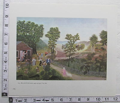 Print Grandma Moses Mary And Little Lamb 1970's Anna Robertson Folk Art (P1)
