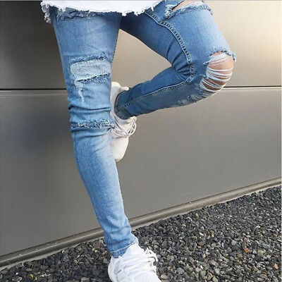 Men'S Biker Ripped Skinny Jeans Destroyed Frayed Slim Fit Denim Pant Trousers