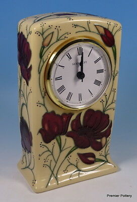 MOORCROFT Chocolate Cosmos Mantle Mantel Desk Clock Rachel Bishop RRP £225