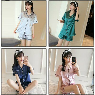Womens Short Pajamas Set Button Closure Silk-like Satin Sleepwear with Pants  EC