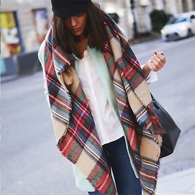 Women Blanket Oversized Tartan Scarf Wrap Shawl Plaid Checked Pashmina AQ
