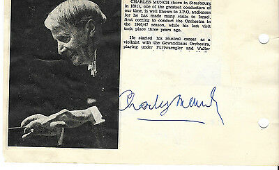 1960s CHARLES MUNCH Conductor & ANDRE NAVARRA Cello in ISRAEL SIGNED AUTOGRAPHS
