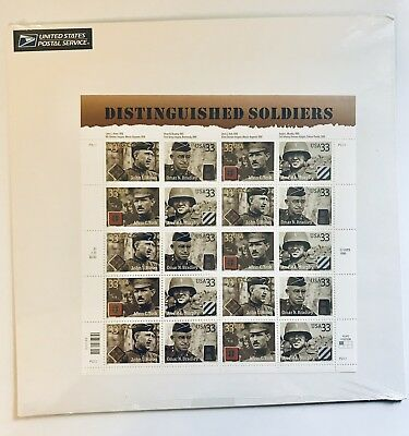 US Sheet 33¢ Stamps (20) DISTINGUISHED SOLDIERS c 2000 MNH