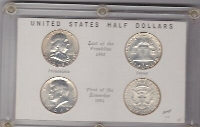 Cased 4 Usa Half Dollars 1963 & 1964  In Good Fine To Near Mint Condition
