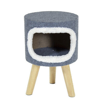 Charles Bentley Pet Cave Bed in Grey Made of Polyester with Wooden Legs