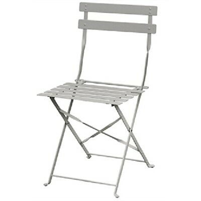 Bolero Grey Pavement Style Steel Chairs (Pack of 2) - Terrace Cafe Garden GH551