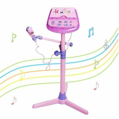 Childrens Girls Pink Karaoke Song Machine Microphone Stand & Lights Toy 88026