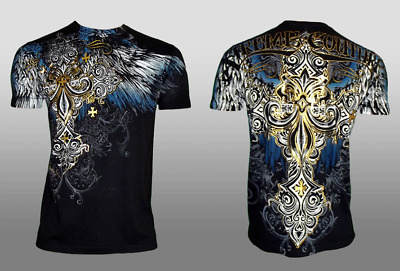 XTREME COUTURE by AFFLICTION Mens T-Shirt ENSIGN Cross Wings BLACK Biker UFC $40